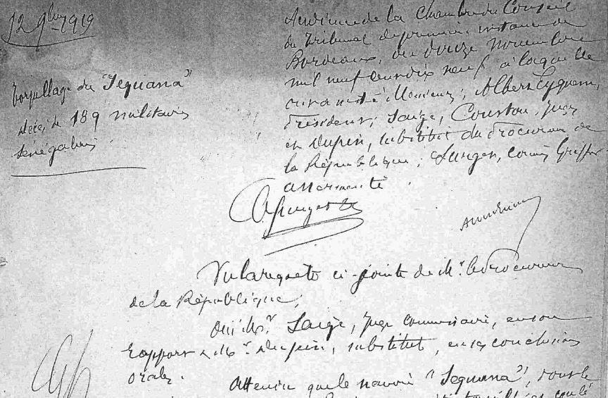 Première page du jugement rendu à Bordeaux