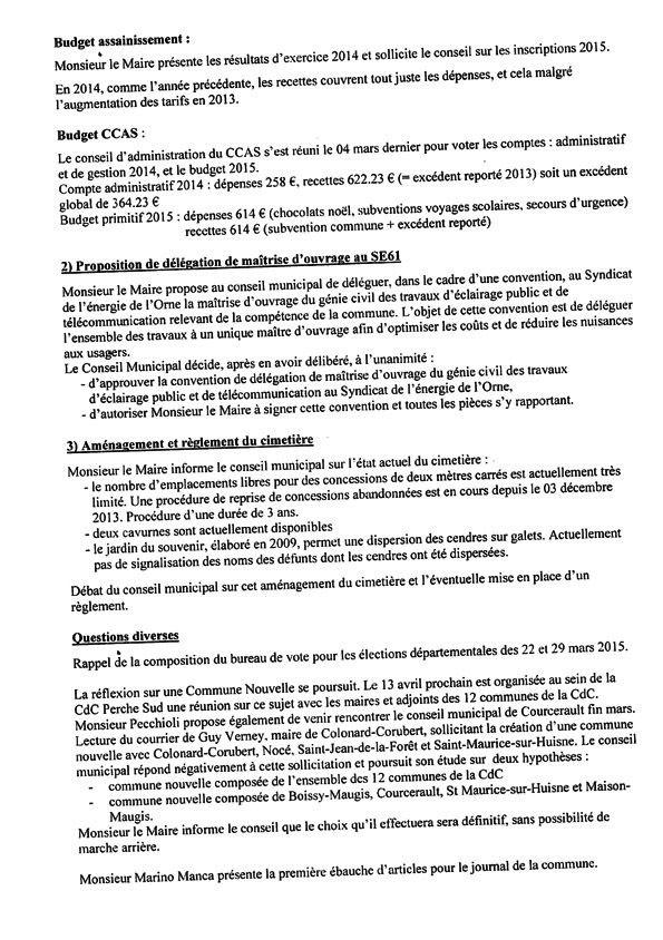 Compte rendu du conseil municipal du 19 mars 2015