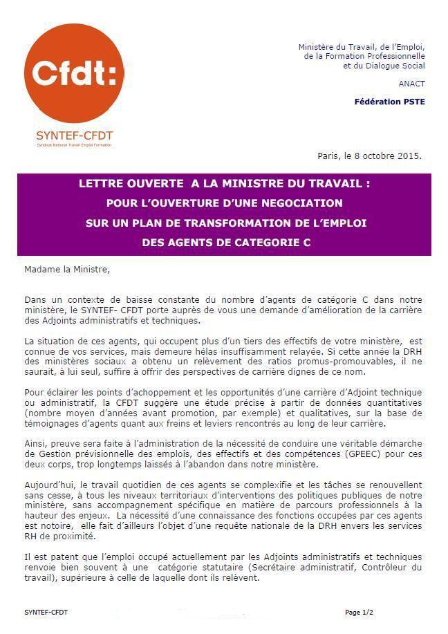 CFDT - Lettre ouverte à la Ministre sur un plan de transformation d'emploi des agents de catégorie C