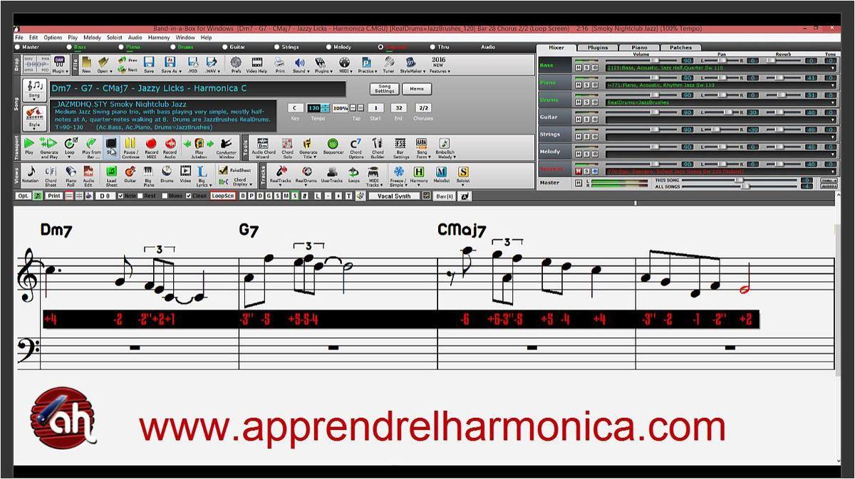 Dm7 - G7 - CMaj7 - Saxophone Jazzy Lick 03 - Harmonica C