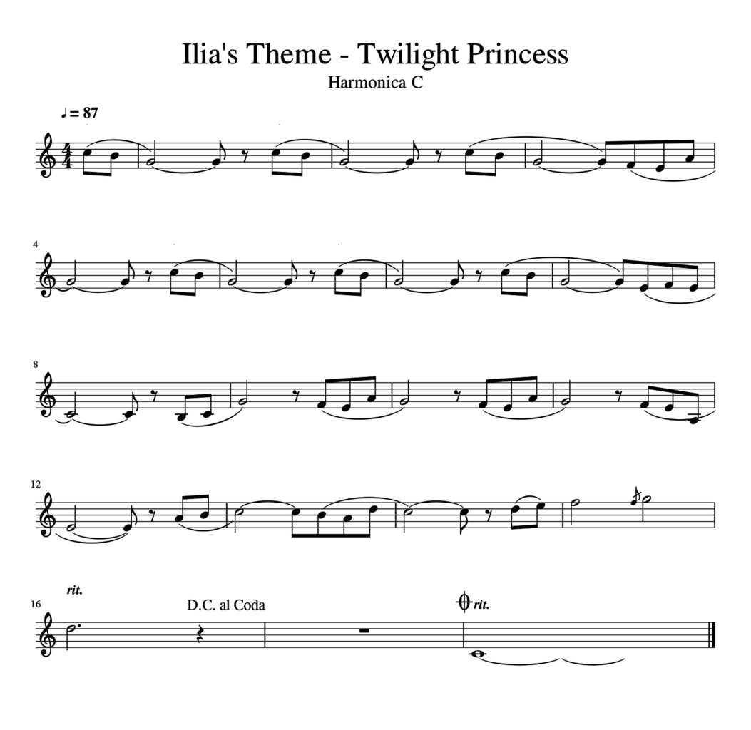 Ilia's Theme - The Legend of Zelda: Twilight Princess - Harmonica C
