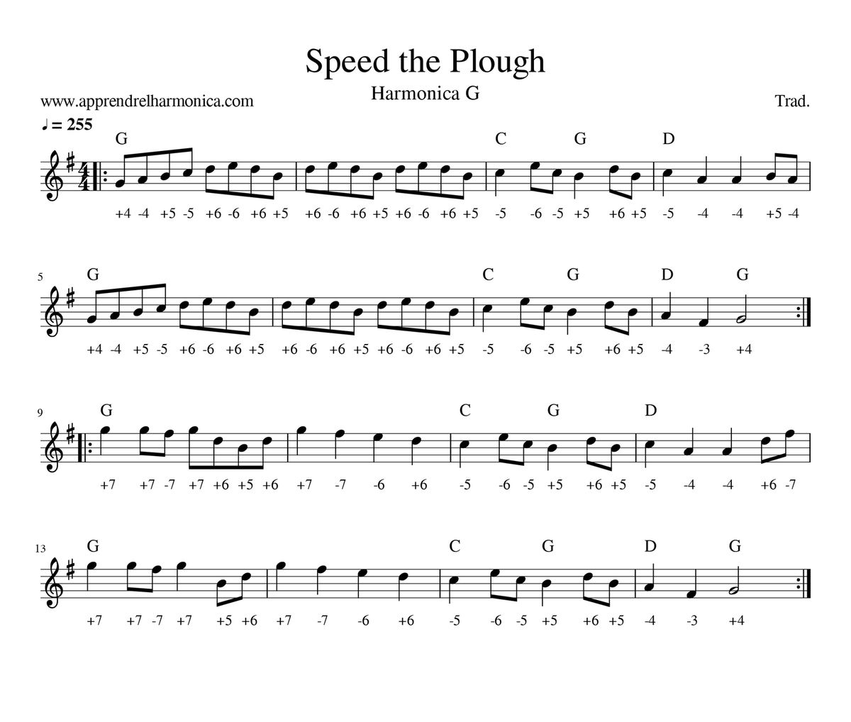Trad irlandais - Speed the Plough Harmonica G