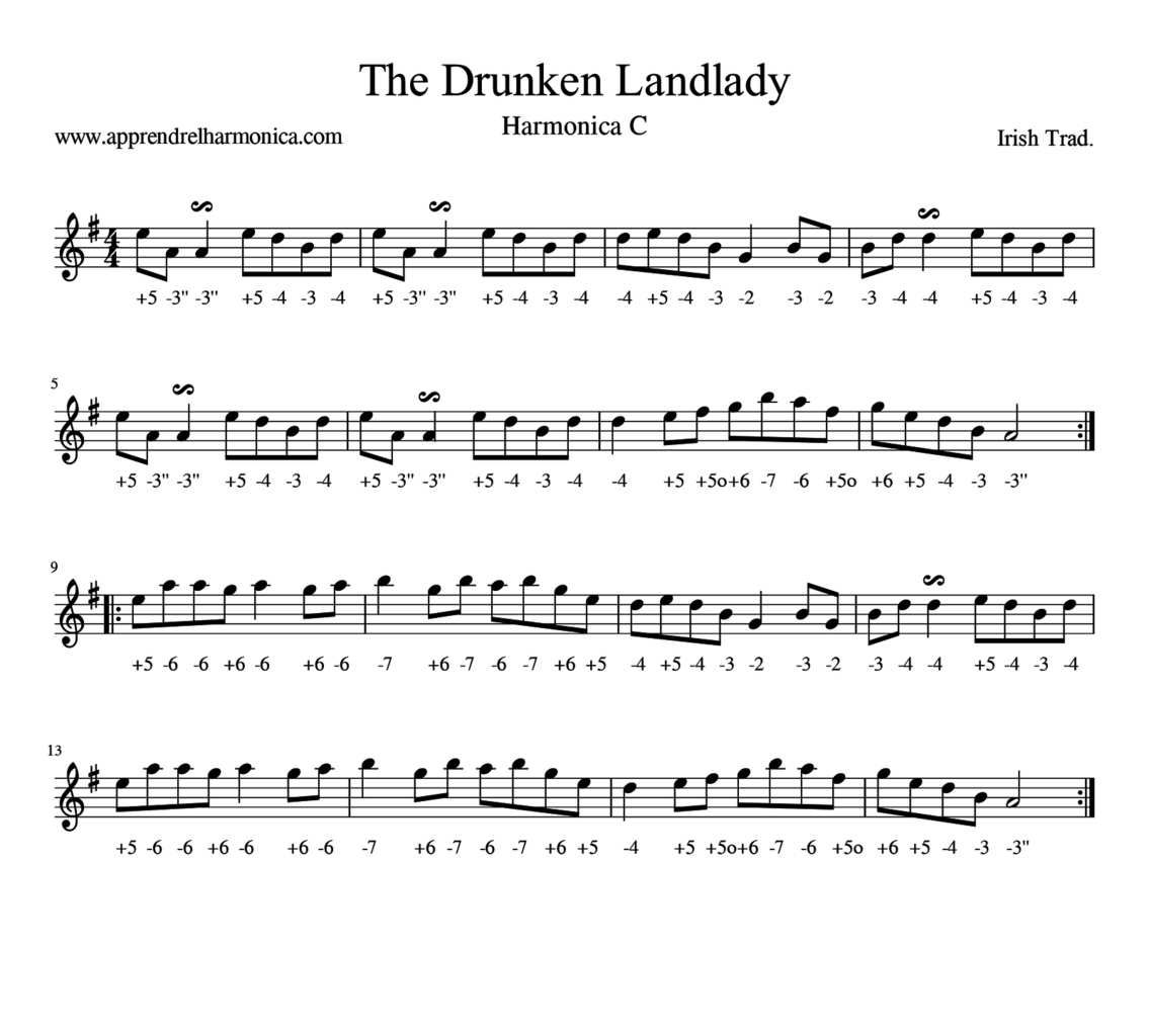 The Drunken Landlady - Harmonica C - Irish Trad.
