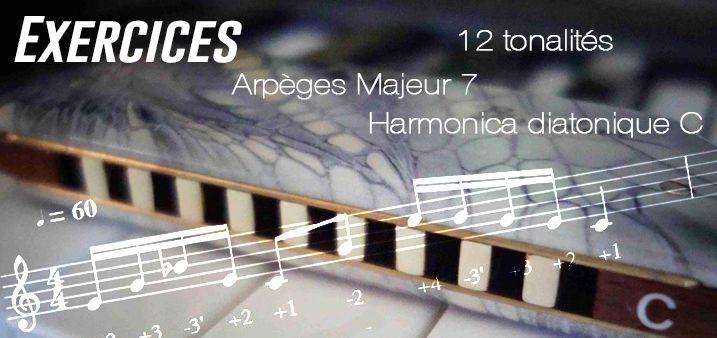 Exercices - Arpèges Majeur 7 - Harmonica diatonique et chromatique