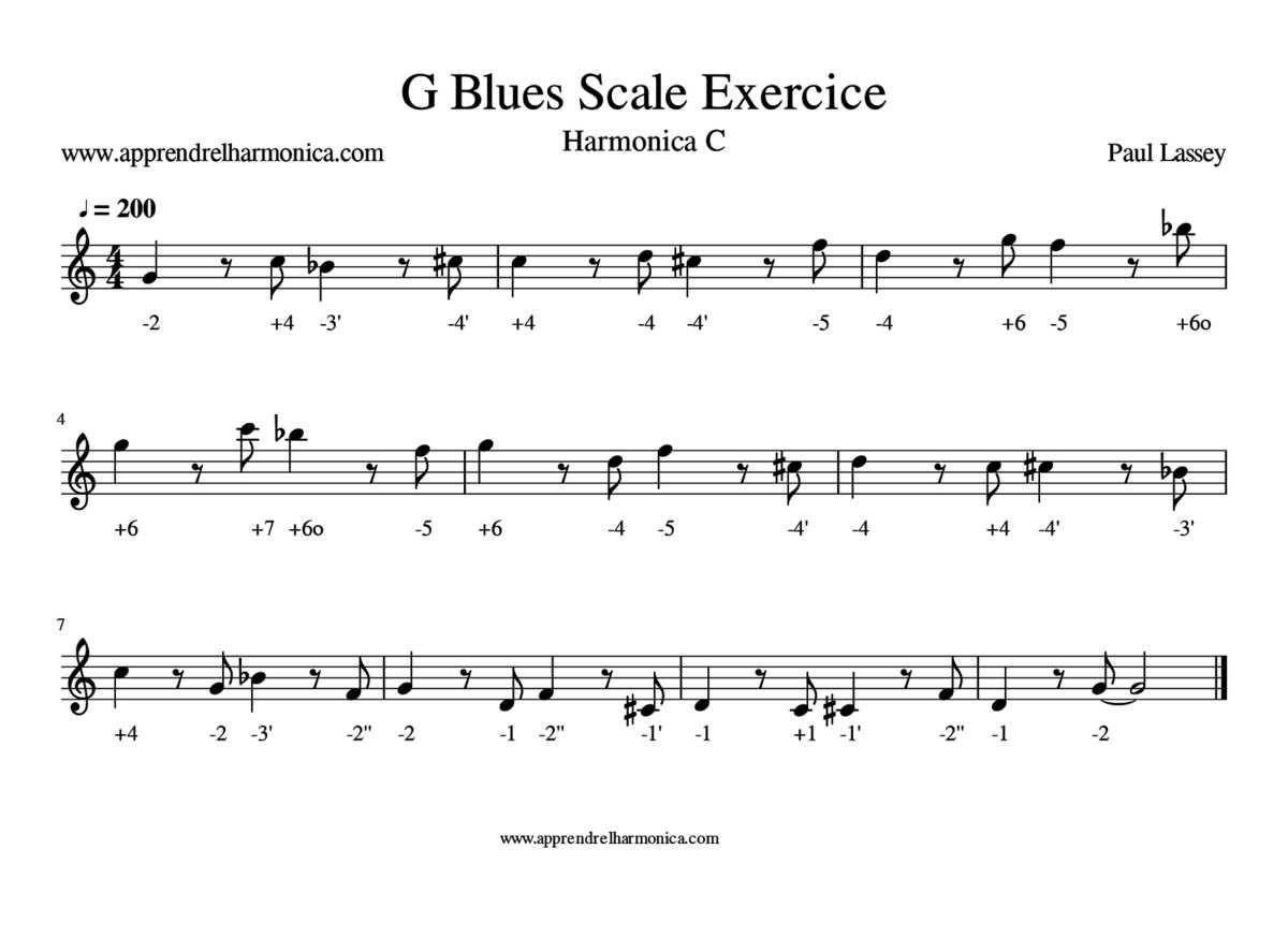 G Blues Scale Exercice - Harmonica C