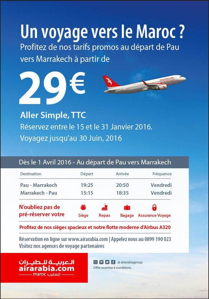 Pau-Marrakech avec Air Arabia