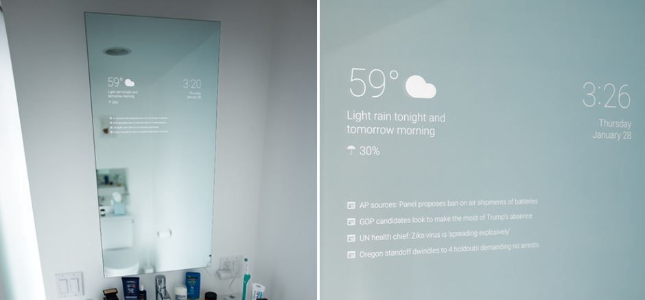 Innovation high tech smart mirror le miroir connect for Miroir salle de bain high tech