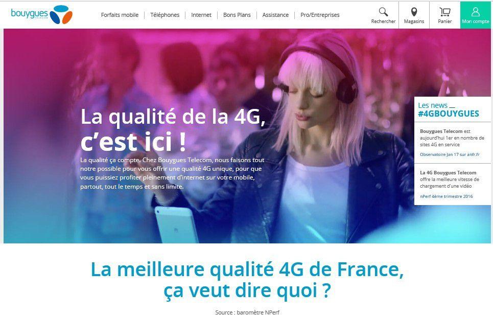 Opérateur mobile : autopromotion sur la 4G pour Bouygues Telecom