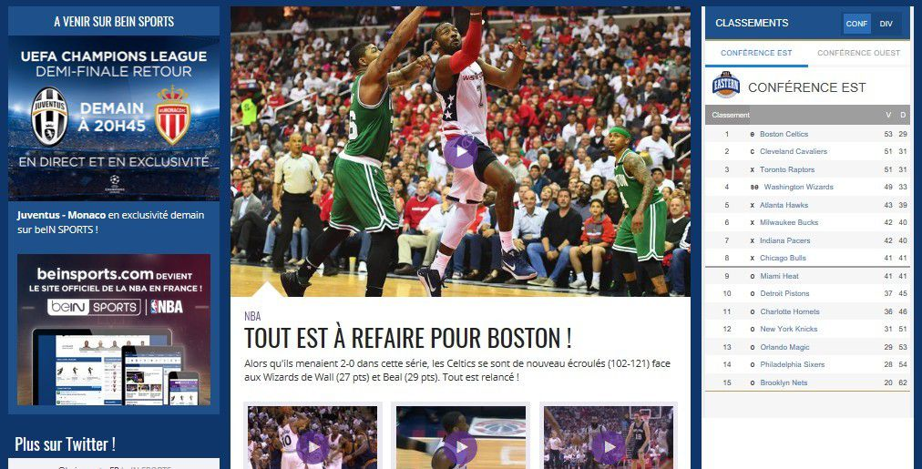 Web : beIN SPORTS devient le site Internet officiel de la NBA en France