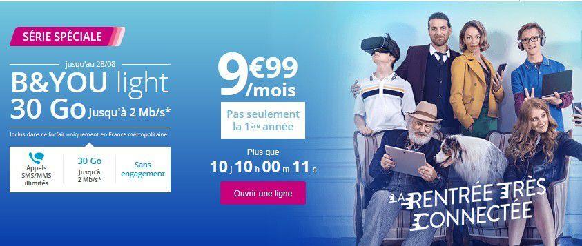 Opérateur mobile : B&amp&#x3B;YOU light, le nouveau forfait bridé de Bouygues Telecom