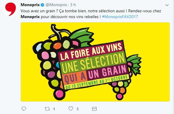 Social marketing : MONOPRIX confirme qu'ils ont un grain sur Twitter