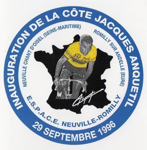 Inauguration de la côte Jacques Anquetil en septembre 1996 à La Neuville Chant d'Oisel