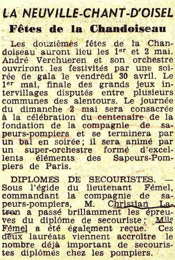 La Chandoiseau en 1965 à La Neuville Chant d'Oisel