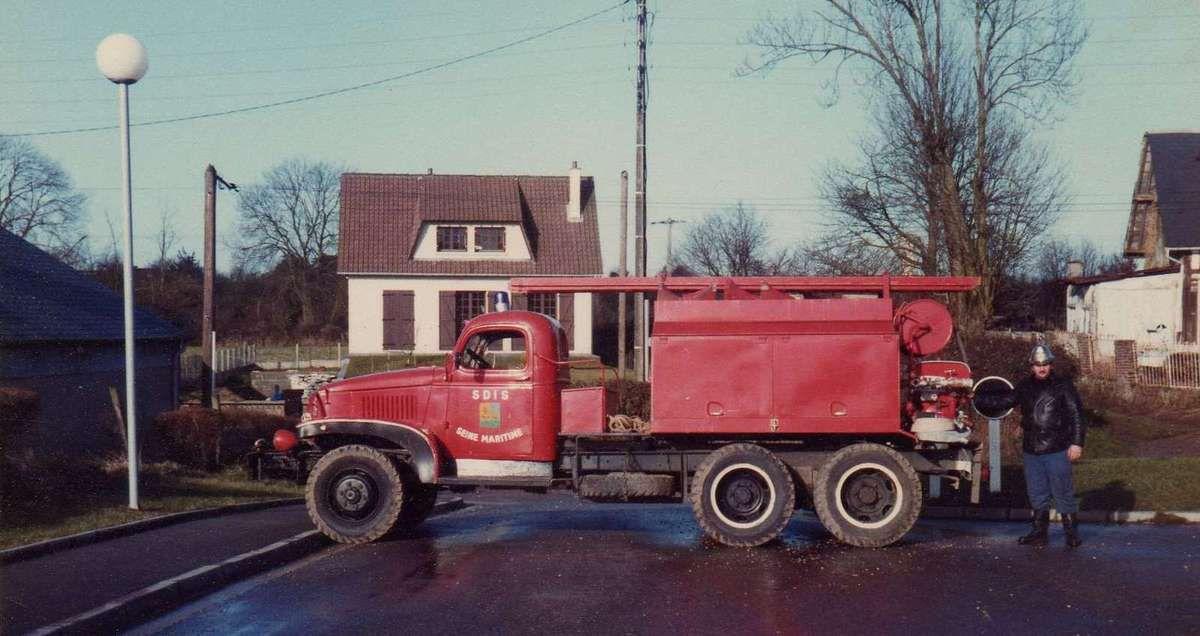 Le camion pompe pris en photo en 1985