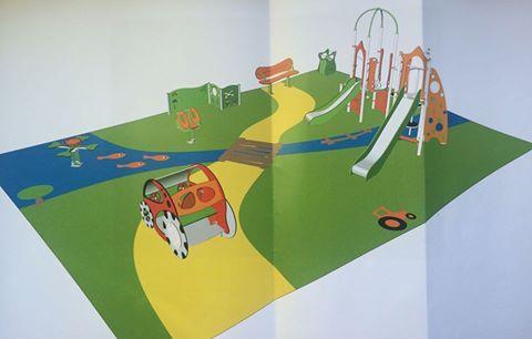 Création d'une aire de jeux en juillet 2015 à La Neuville Chant d'Oisel