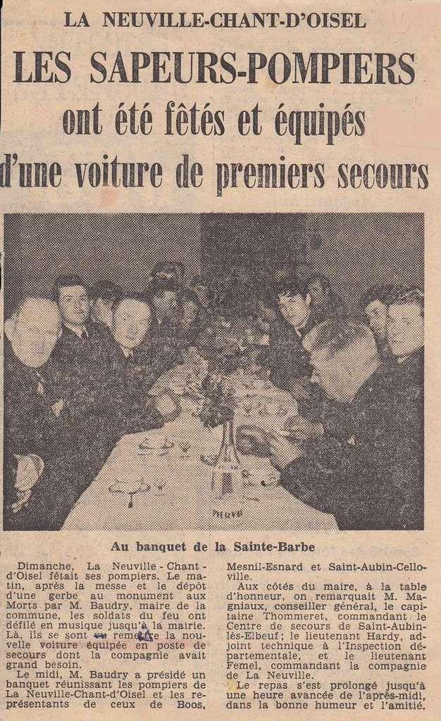 Les sapeurs pompiers de La Neuville Chant d'Oisel fêtent la Sainte Barbe en 1966
