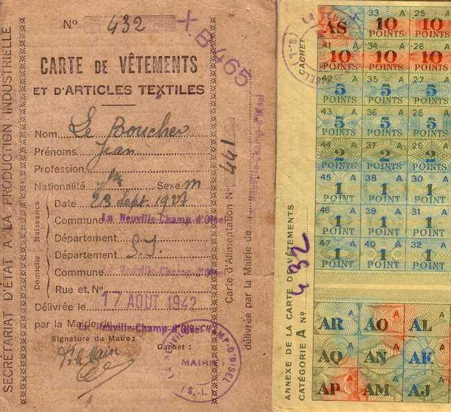 Carte de rationnement de M. Le Boucher à La Neuville Chant d'Oisel