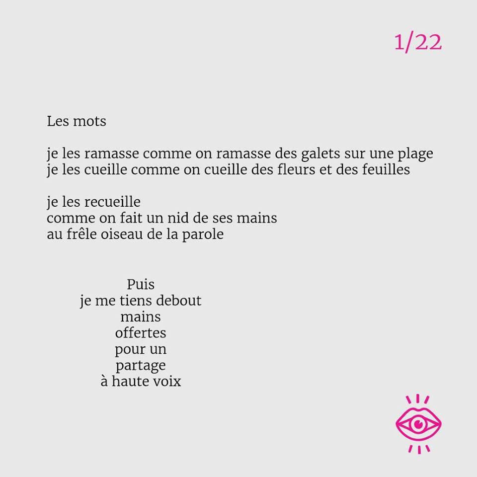 Pendant 22 semaines, j'écrirai chaque dimanche un poème pour Mots dits Mots lus. Voici celui de dimanche dernier. Bruno Doucey