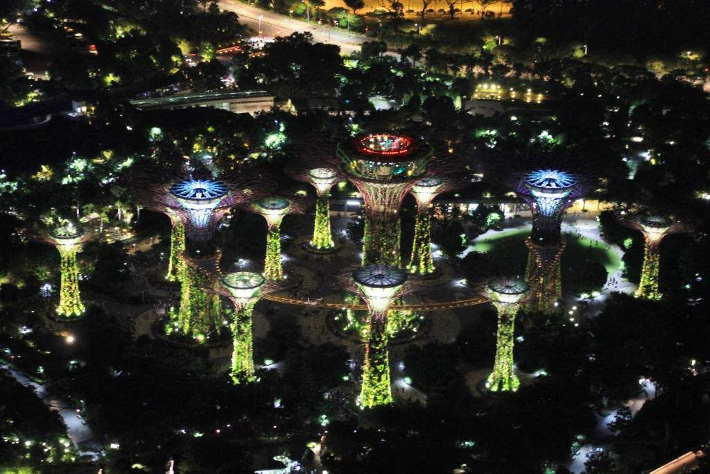 Supertree grove by night Vues du Marina Bay Sands Singapour