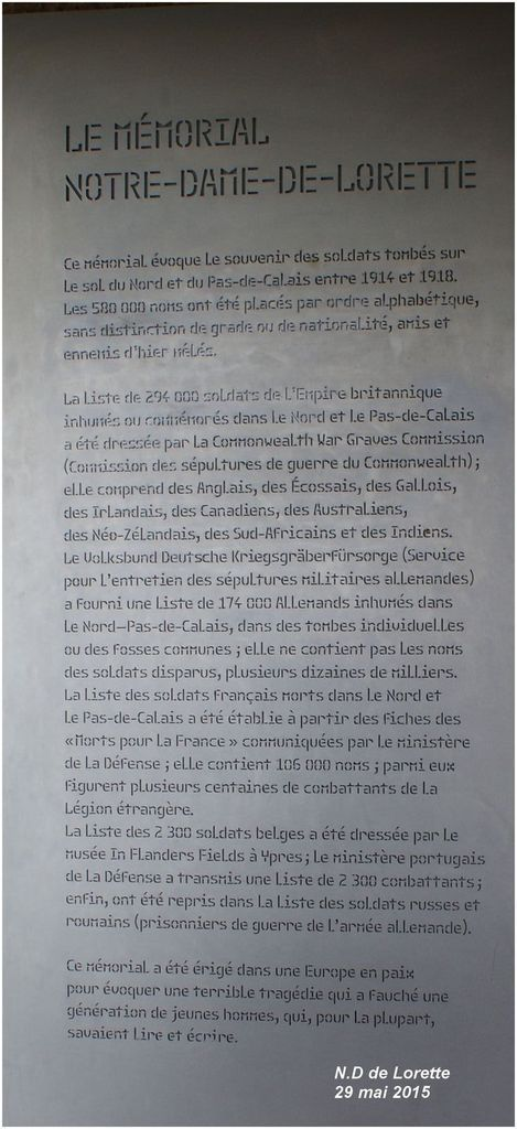 N D de Lorette: l'Anneau de la Mémoire
