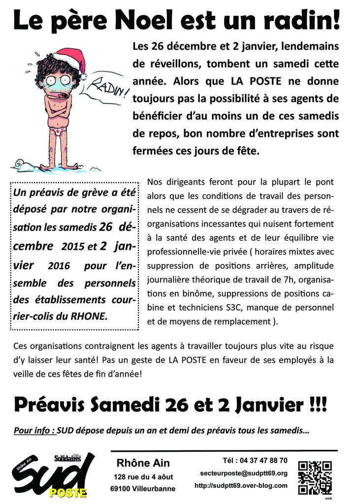Préavis de grève les samedis 26 Decembre et 2 janvier !