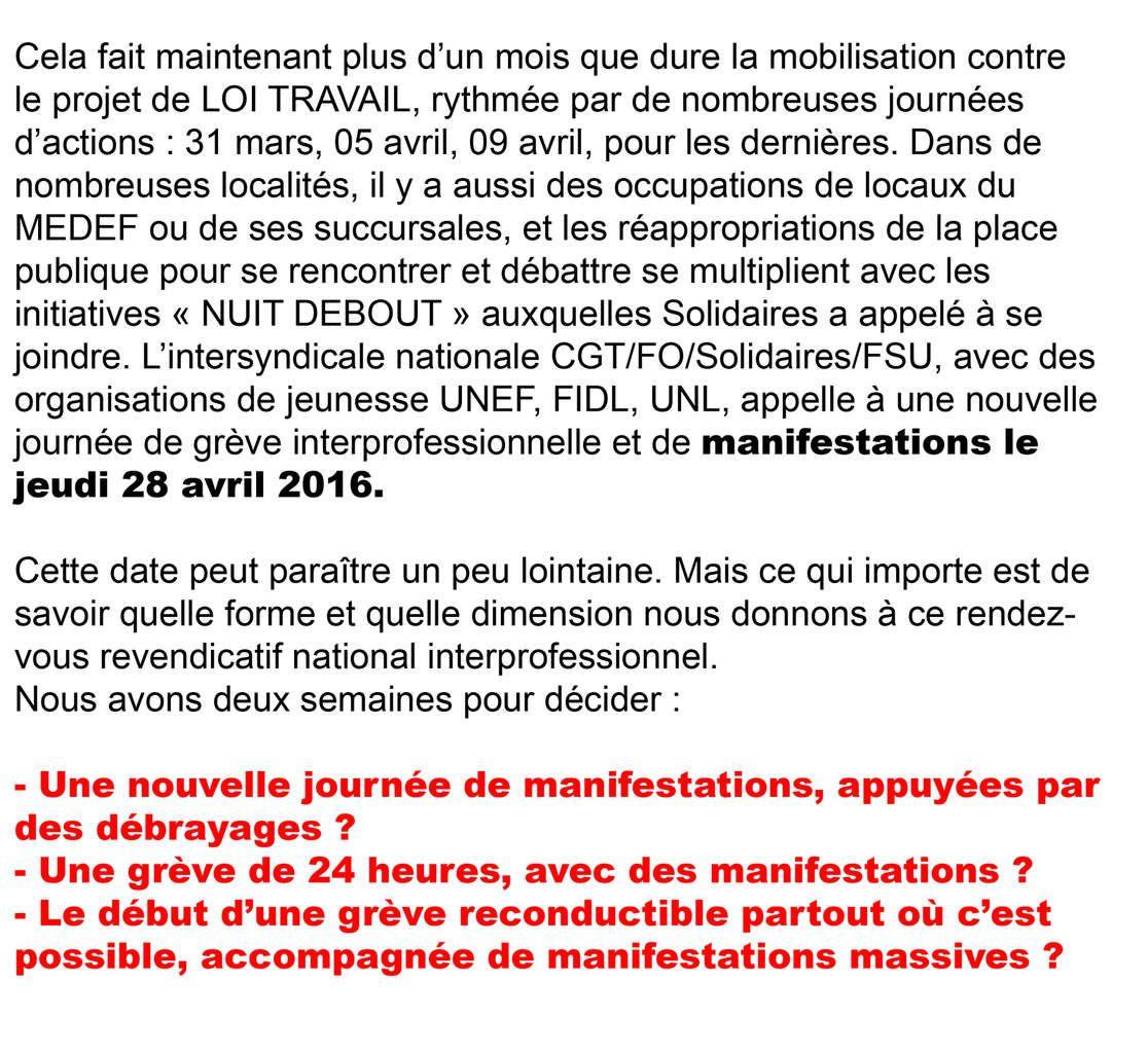 29 Avril nouvelle journée d'action contre le projet de loi du travail !!!!