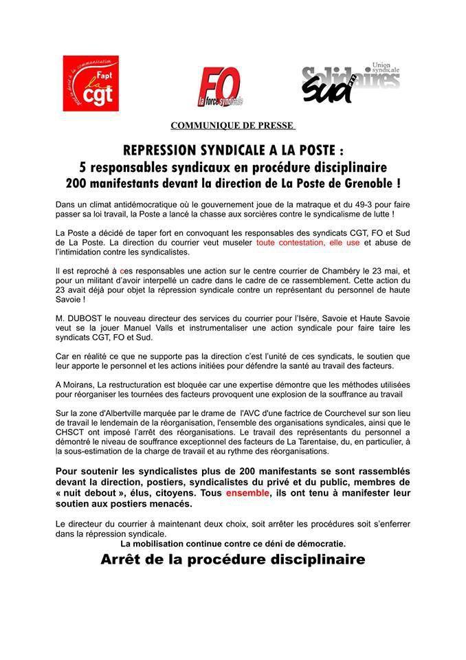 Grenoble : Rassemblement en soutien aux militants menacés de sanction !