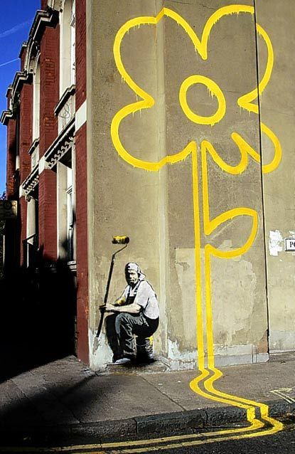 Bansky    Yello Flower, Pollard Street, Londres.