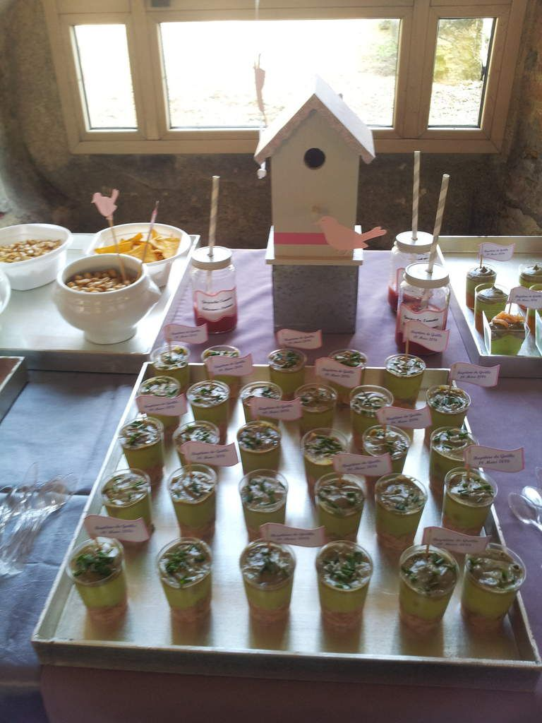 Sweet buffet gris rose, oiseaux et moulins