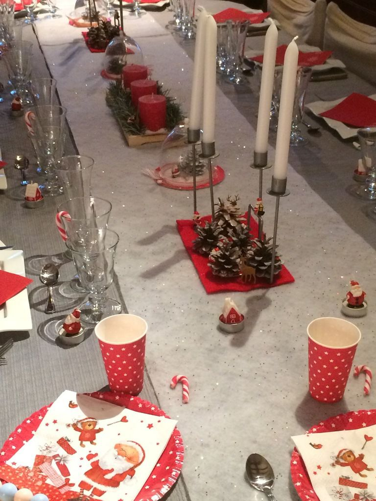 Variante table de no l 2016 rouge et blanc le blog de for Table noel rouge et blanc