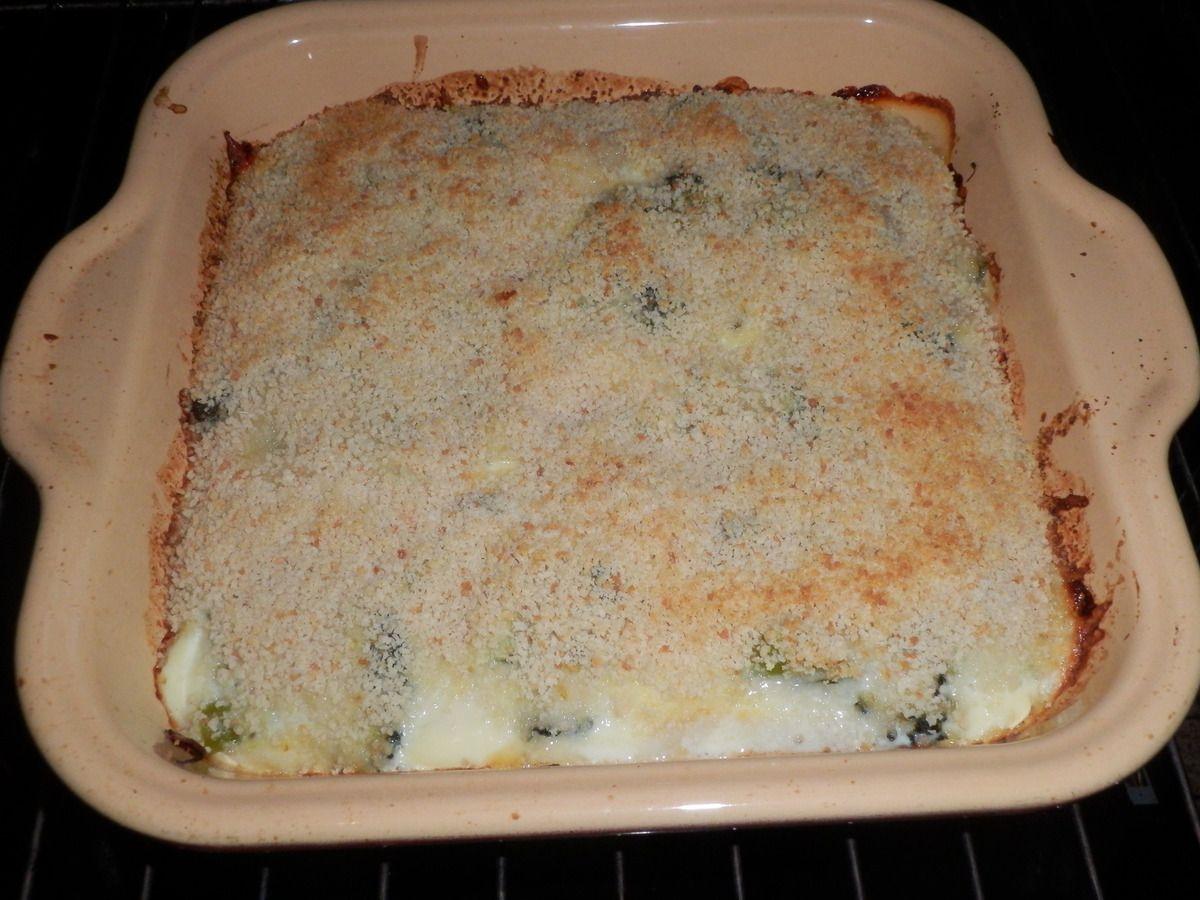 Gratin de brocolis au fromage.