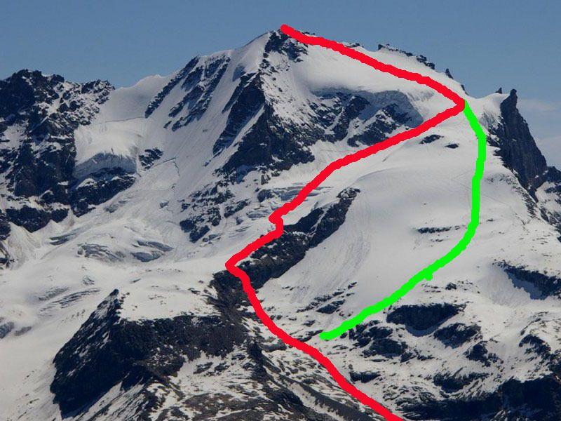 En rouge la voie normale par le glacier, en vert celui par l'épaule.