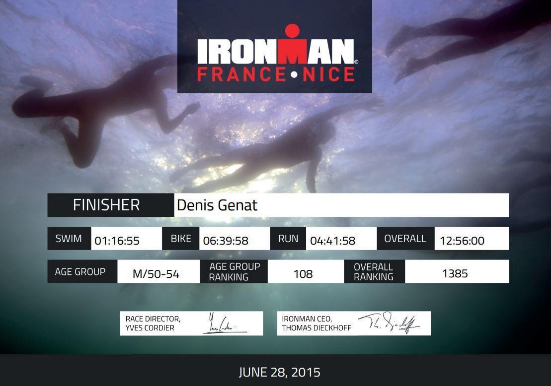 Ironman France Nice, Denis Genat au bout de l'effort...