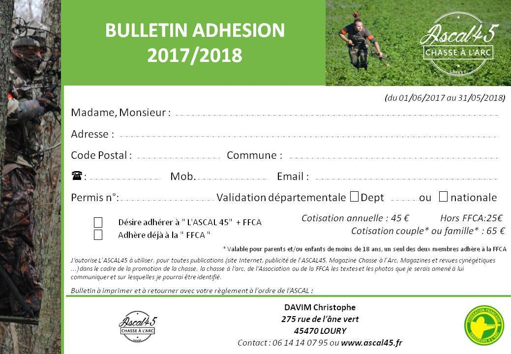 Bulletin inscription ASCAL45