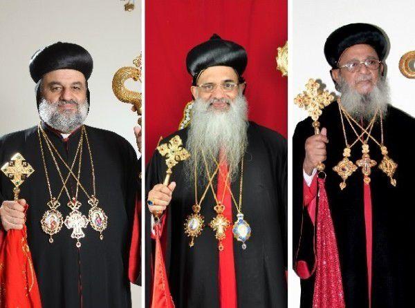 De gauche à droite: Sa Sainteté le Patriarche d'Antioche et de Tout l'Orient (Successeur de Pierre au Siège d'Antioche ), Sa Sainteté le Catholicos de l'Est et Métropolite de Malankare( Successeur de St Thomas. Eglise Malankare-Orthodoxe. Eglise Orthodoxe des Indes), Sa Béatitude le Catholicos fiduciaire du Patriarcat aux Indes .
