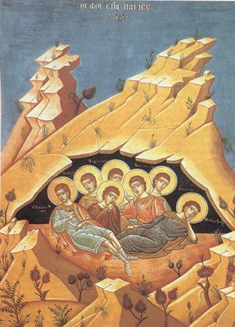 4 août : Les SEPT DORMANTS d'ÉPHÈSE : MAXIMILIEN, EXACUSTODIEN, JAMBLIQUE, MARTINIEN, DENYS, ANTONIN et CONSTANTIN  Tropaire, t. 4  Prodigieux miracle de la foi: * dans une grotte comme en la chambre du Roi * sont demeurés les sept jeunes gens * qui moururent sans que leur corps fût corrompu * et se levèrent longtemps après * comme au sortir d'un sommeil * pour confirmer notre foi * en l'universelle résurrection. * Par leurs prières aie pitié de nous, ô Christ notre Dieu.