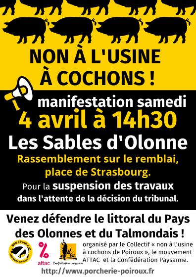 Non à l'usine à cochons de Poiroux : Manifestation aux Sables d'Olonne