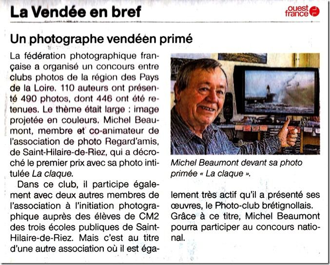 Un photographe vendéen amateur à l'honneur