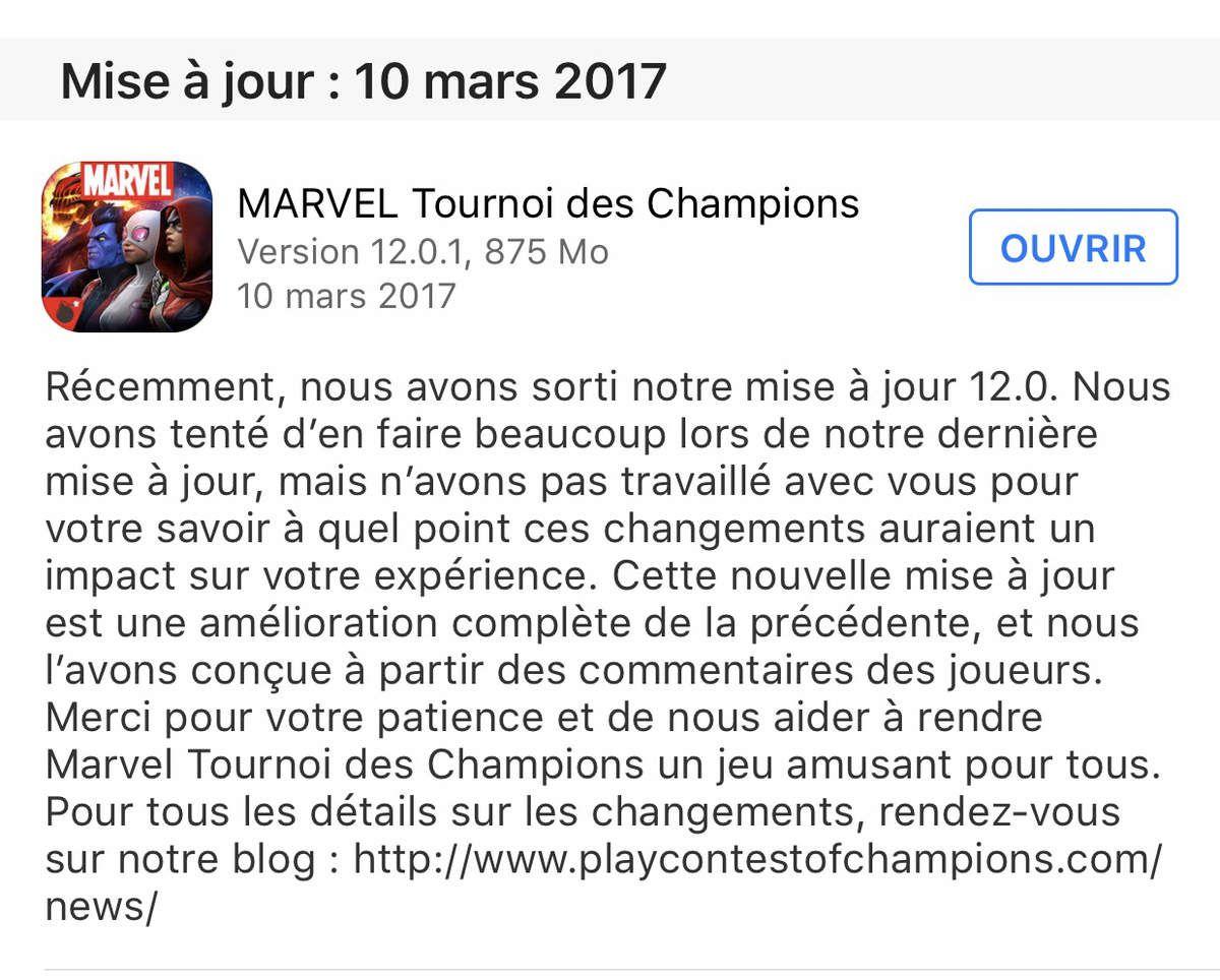 Nouvelle maj aujourd'hui marvel contest of champions 12.0.1