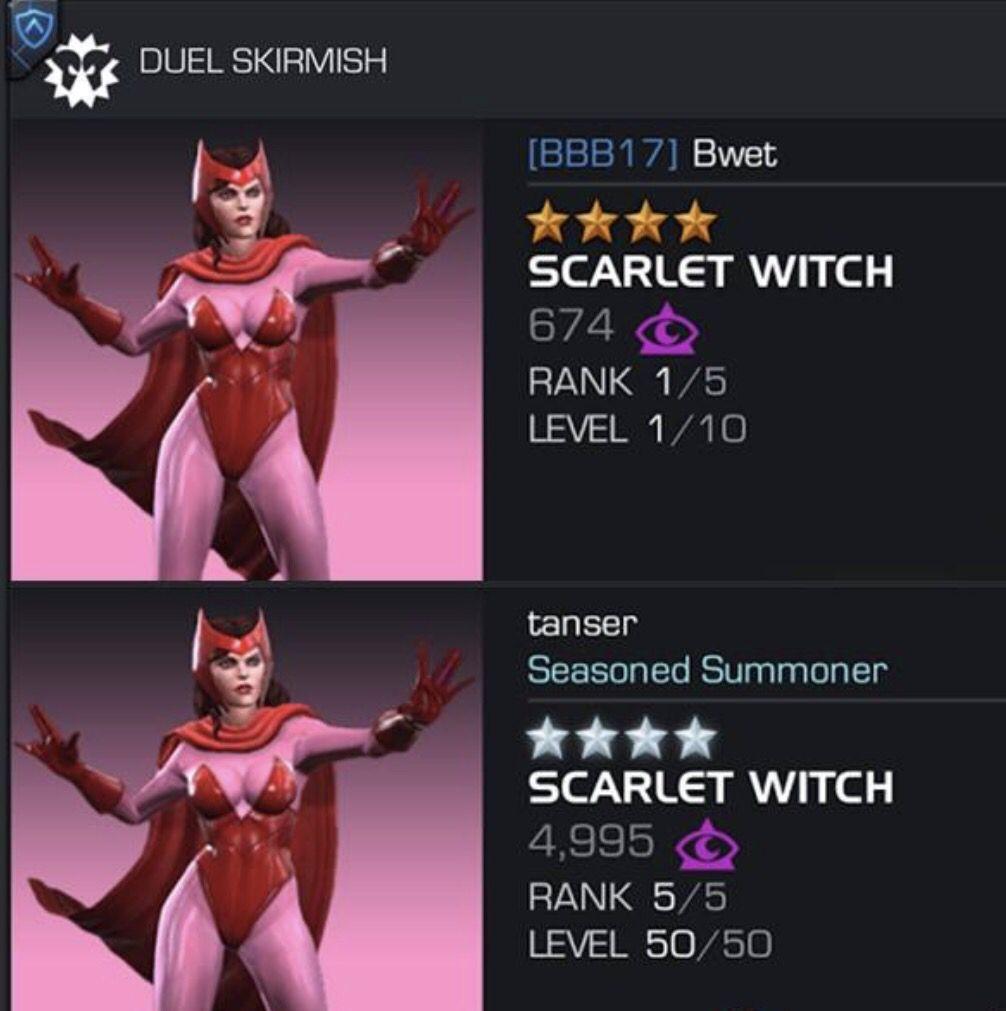 Les duels de ce soir La sorcière Rouge  Marvel tournoi des champions