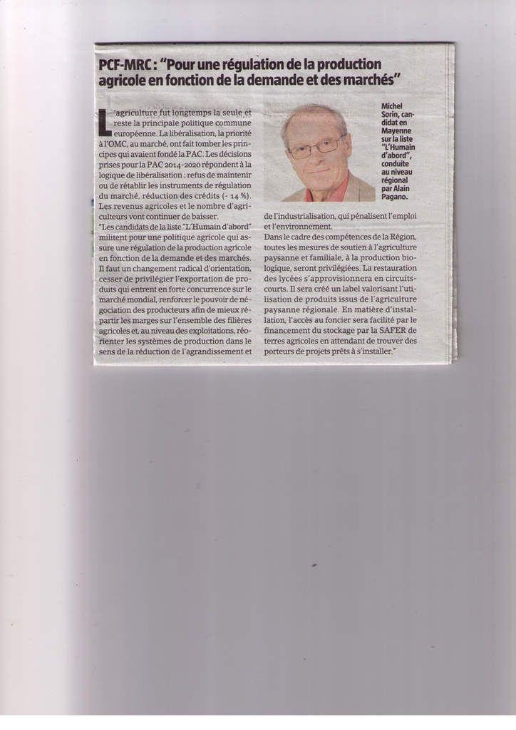 Dans L'avenir agricole, 4 décembre 2015, deux pages d'expression des candidats aux élections régionales, l'une réservée à Clergeau et Retailleau, l'autre utilisée par 4 listes, dont L'Humain d'abord (ici)