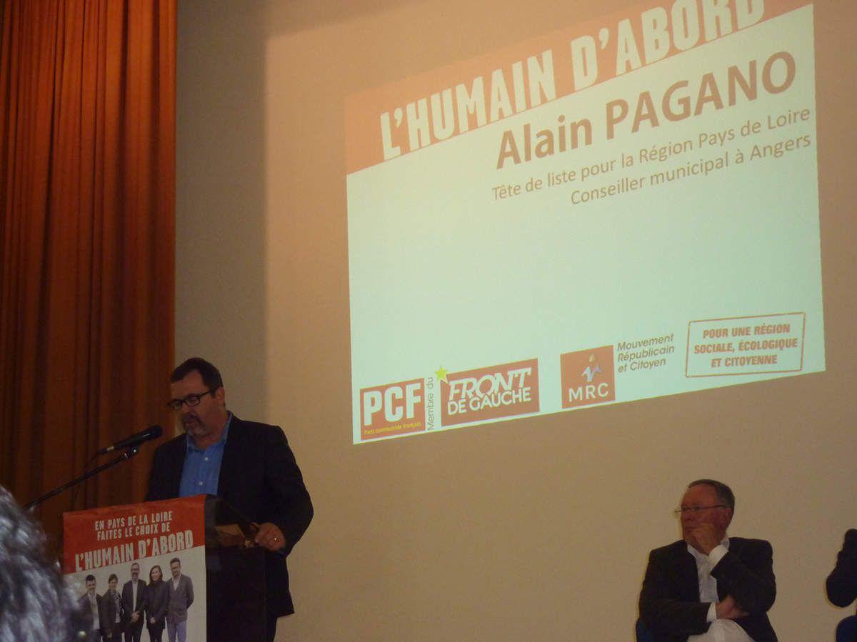 """Meeting régional à Nantes le 1er décembre 2015 de la liste """"L'humain d'abord"""" conduite par Alain Pagano (PCF)"""