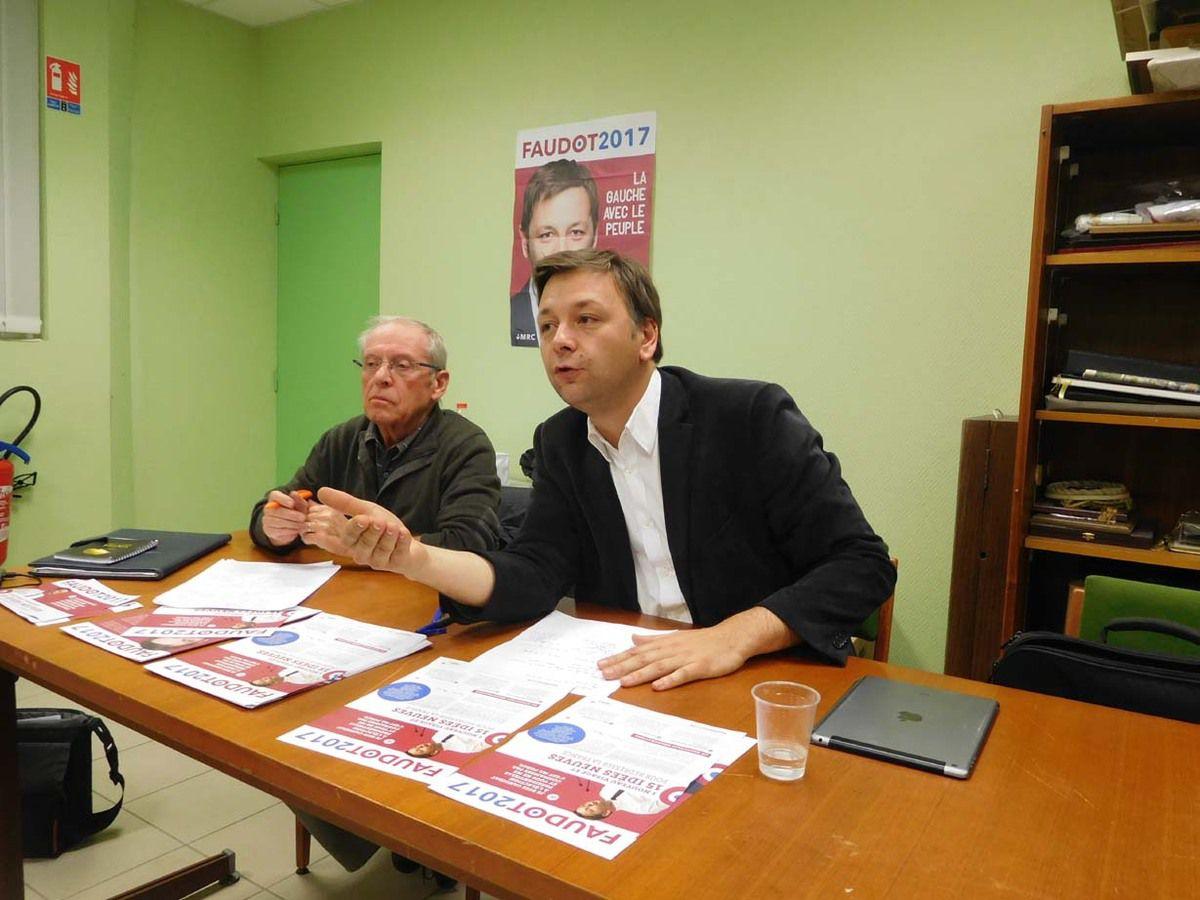Bastien Faudot et Michel Sorin, le 8 novembre 2016 à Saint-Berthevin (journée du candidat MRC en Mayenne)