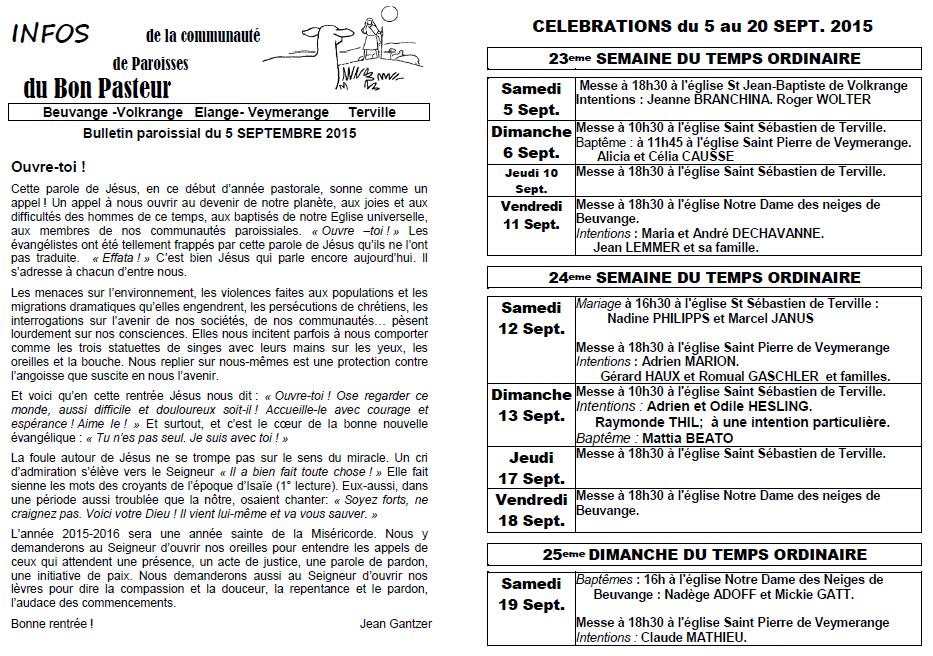Bulletin du 5 au 19 septembre
