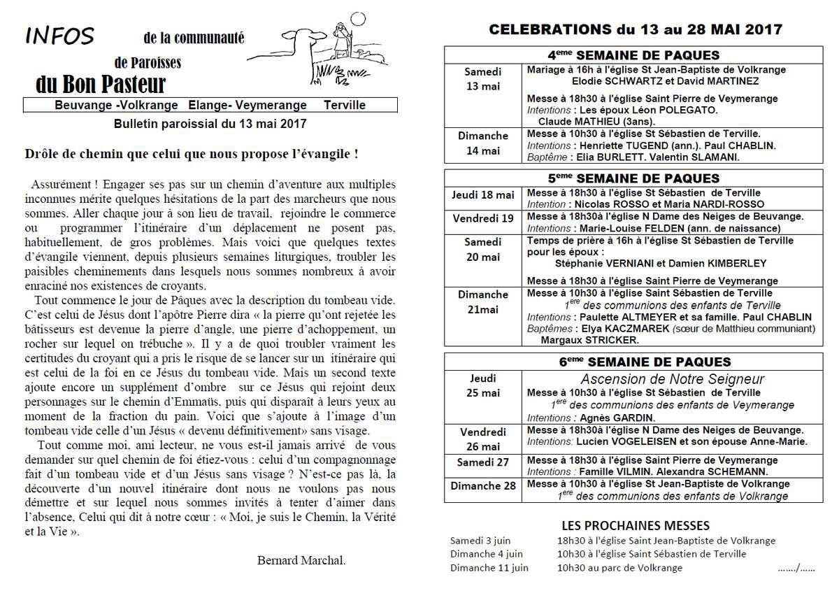 Bulletin paroissial du 13 au 27 mai 2017