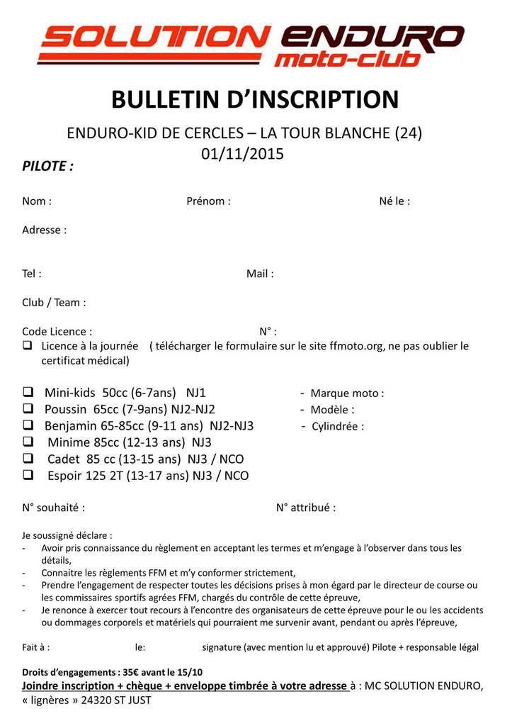 INSCRIPTIONS ENDURO KID CERCLES-LA TOUR BLANCHE