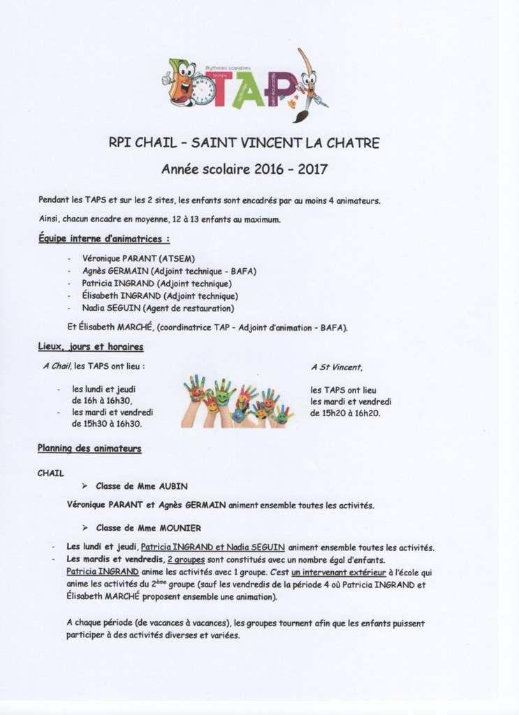 TAP (Temps d'Activité Périscolaire) RPI Chail/St Vincent-la-Châtre