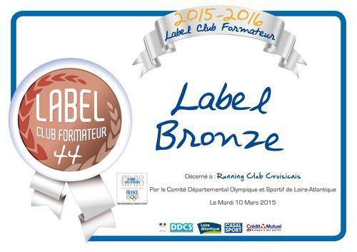 Label Club Formateur 44 pour le Running Club Croisicais