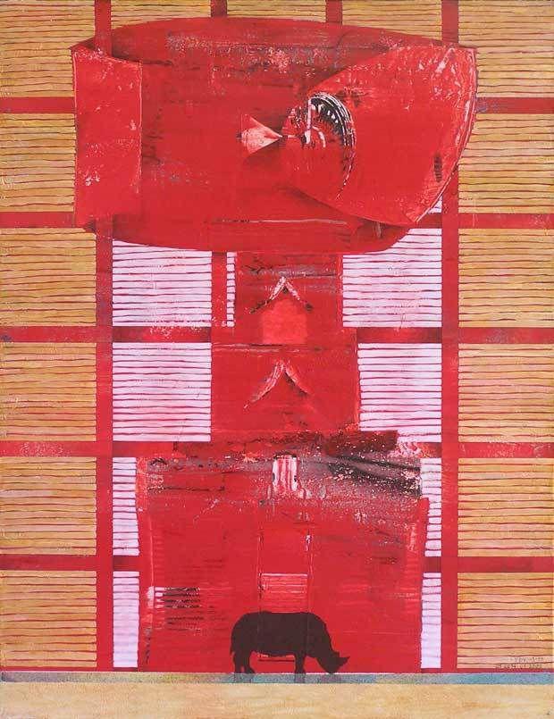 Yves Desvaux Veeska - Peintures habitées - Acrylique sur toile 65 x 50 cm - n°1222 - 1999 / 2014