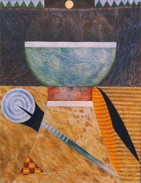 Coupe et compas - Acrylique sur toile 65 x 50 cm - N°1067 - 09/1997 - Coll. Claude Taub